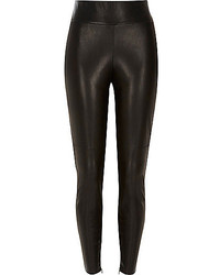 River Island Black Leather Look High Waisted Leggings