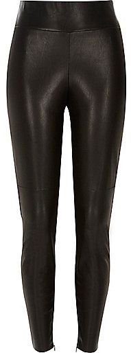 2830e88f3aca49 Black Leather Look High Waisted Leggings. Black Leather Leggings by River  Island