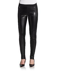 Dex Ponte Paneled Faux Leather Leggings