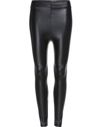 Elastic Waist Pu Slim Leggings