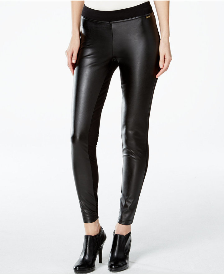 bf55dbecae3c4 Calvin Klein Faux Leather Front Leggings, $59 | Macy's | Lookastic.com