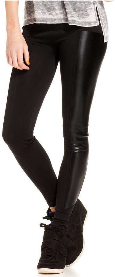 844e8652899c8 Material Girl Juniors Faux Leather Inset Leggings Only At Macys, $22 |  Macy's | Lookastic.com