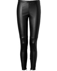 Burberry London Leather Leggings In Black