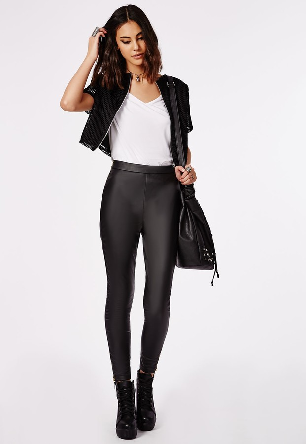 93dfb8c6330b2c ... Leggings Missguided Perri Faux Leather Side Zip Trousers Black ...