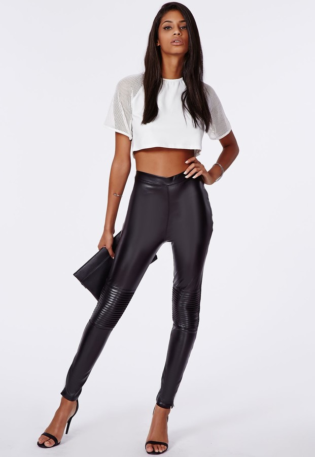 new design how to orders separation shoes $70, Missguided Premium Faux Leather Biker Leggings In Black
