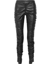 The Row Orshen Ruched Leather Leggings Black