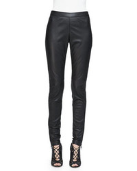 Burberry Side Paneled Leather Leggings Black