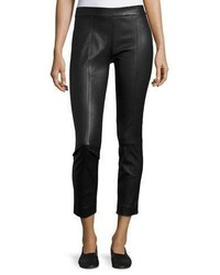 Vince Stitch Front Leather Leggings Black