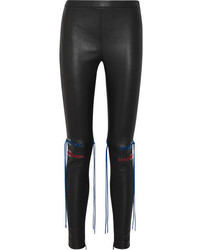 Alexander McQueen Whipstitched Stretch Leather Leggings Black
