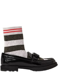 Fendi 30mm Sock Polished Leather Loafers
