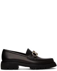 Salvatore Ferragamo Black Gancini Bleecker Loafers