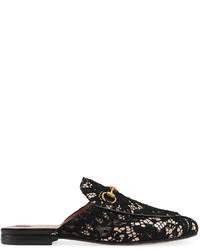 Gucci Black Lace Princetown Mules
