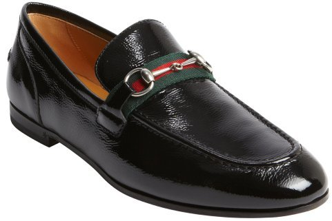 731ed3197 Gucci Black Patent Leather Horsebit Penny Strap Loafers, $490 ...