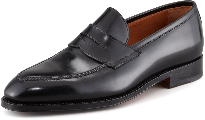 99a01c44d8f ... Bontoni Principe Leather Penny Loafer Black ...