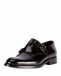 Saint Laurent Dare Eli Patent Leather Monk Strap Loafer Black