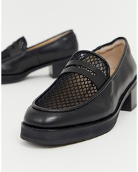 Eeight E8 By Miista Black Heeled Chunky Loafers With Woven Detail