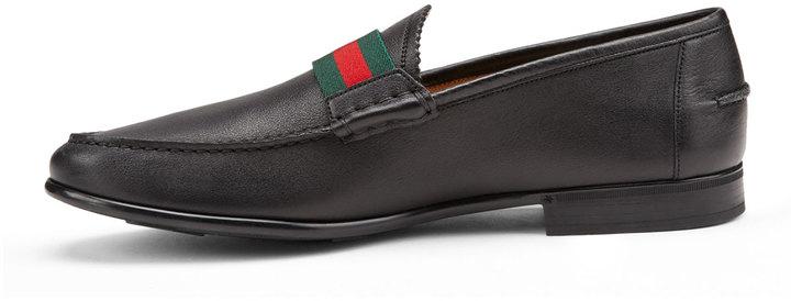 d403664632a Gucci Frederik Leather Web Loafer Black