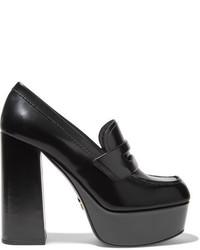 Prada Leather Platform Loafers Black