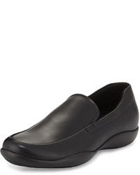 Prada Linea Rossa Leather Slip On Loafer With Rubber Sole Black
