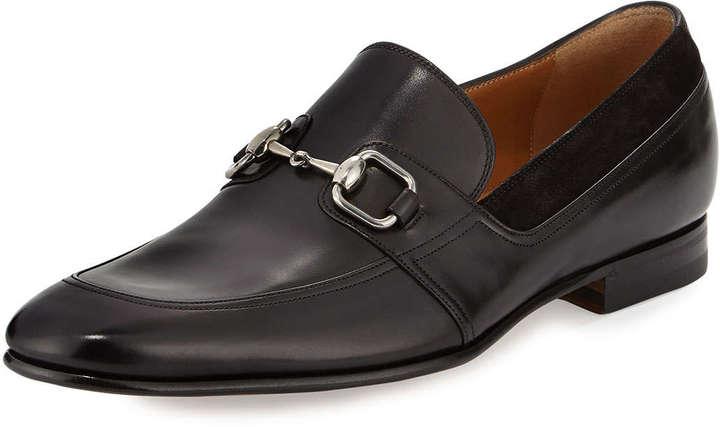 66f9ed135 ... Gucci Leather Square Horsebit Loafer Black ...