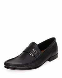 Bally Suver Leather Moc Toe Loafer Black