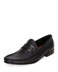 Suver leather moc toe loafer black medium 962338