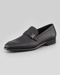 Salvatore Ferragamo Svezia Pebbled Leather Loafer Black