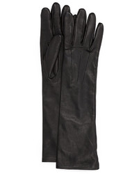 Black Leather Long Gloves