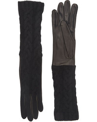 Barneys New York Cable Knit Long Gloves