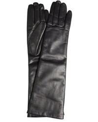 Portolano Black Leather Long Cashmere Lined Gloves