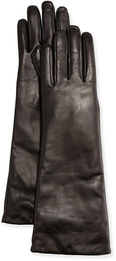 Neiman Marcus Elbow Length Leather Tech Gloves Black