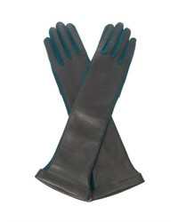 Lanvin Long Length Leather And Wool Gloves