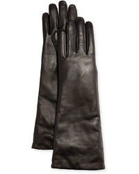 Neiman Marcus Elbow Length Leather Tech Gloves Black