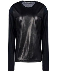 Black Leather Long Sleeve T-shirt
