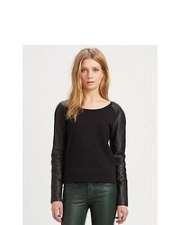 Burberry Brit Leather Sleeve Raglan Top Black