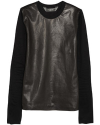 Reed Krakoff Leather Paneled Cotton Top