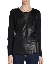 Saks Fifth Avenue BLACK Faux Leather Paneled Top