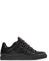Balenciaga Arena Crinkled Leather Sneakers Black