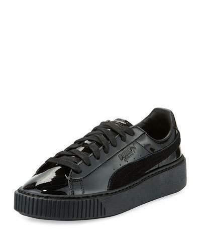 half off fc242 f4add $80, Puma Basket Patent Platform Low Top Sneaker Black
