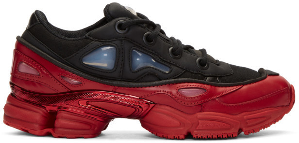 $500, Raf Simons Black And Red Adidas Originals Edition Ozweego 3 Sneakers