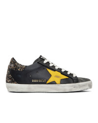 Golden Goose Black And Yellow Glitter Sneakers