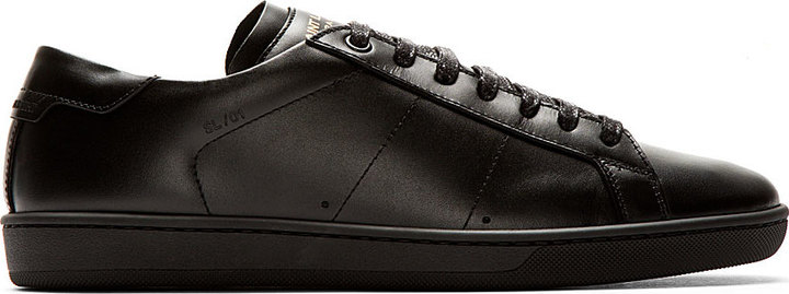 1578824a7160 ... Saint Laurent Black Buffed Leather Court Sneakers ...