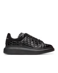 Alexander McQueen Black Croc Oversized Sneakers