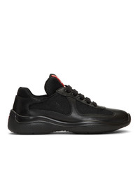 Prada Black Leather And Mesh Lace Up Sneakers