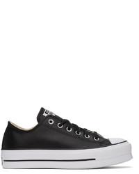 Converse Black Leather Chuck Taylor Platform Sneakers