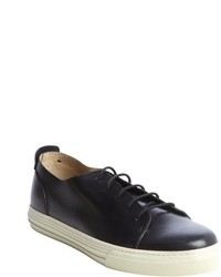 Gucci Black Leather Lace Up Sneakers