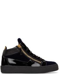 Giuseppe Zanotti Black Navy Velvet Kriss Sneakers
