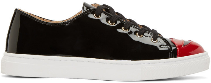 online retailer 43a2e 9b58f $525, Charlotte Olympia Black Patent Kiss Me Sneakers