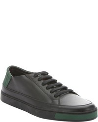 Gucci Black Suede Trimmed Leather Lace Up Sneakers
