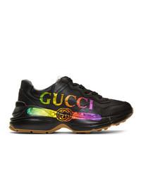 Gucci Black Vintage Rython Sneakers